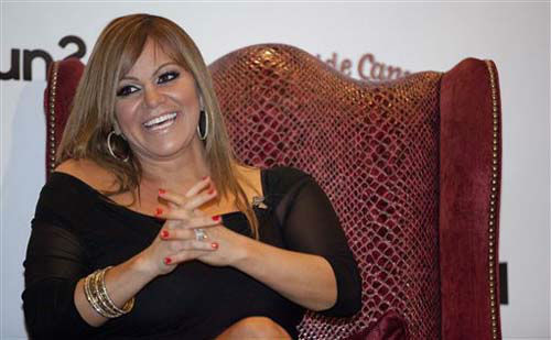 Singer Jenni Rivera, reacts during a ceremony presenting her with a star for the Las Vegas Walk of Stars, Friday, July 1, 2011, in Las Vegas. The actual star will be embedded in the sidewalk in front of the MGM Grand Casino along Las Vegas Boulevard on Saturday. &#40;AP Photo&#47;Julie Jacobson&#41; <span class=meta>(Photo&#47;Julie Jacobson)</span>
