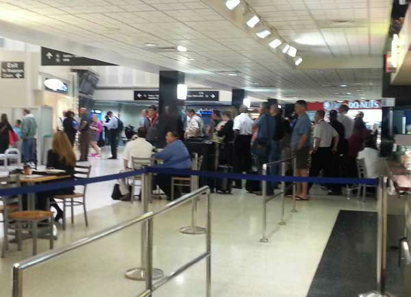 Bush Intercontinental Airport became the scene of intense police activity after a man at a ticket counter in Terminal B shot and killed himself Thursday afternoon. <span class=meta>(KTRK Photo)</span>