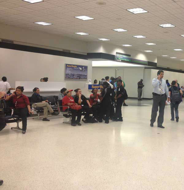 "<div class=""meta ""><span class=""caption-text "">Bush Intercontinental Airport became the scene of intense police activity after a man at a ticket counter in Terminal B shot and killed himself Thursday afternoon. (KTRK Photo)</span></div>"
