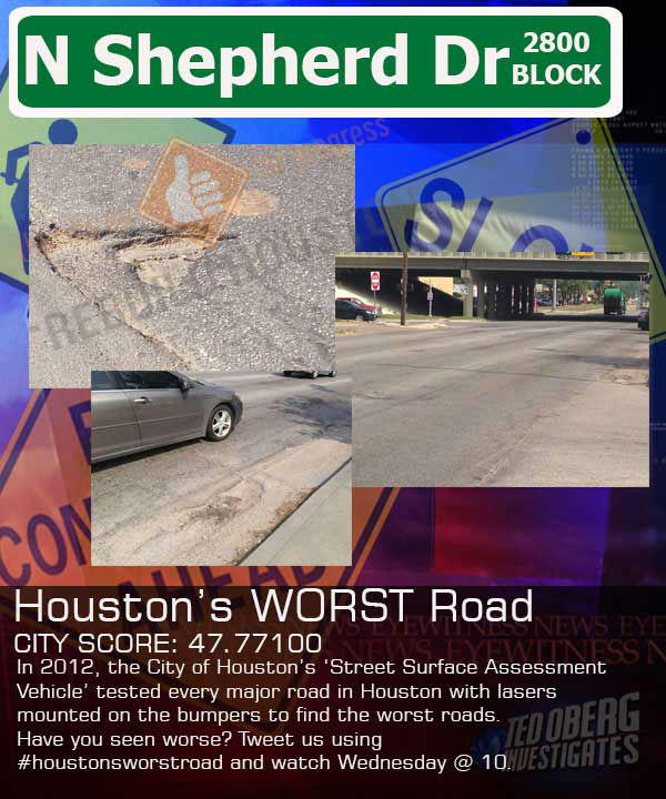 When the City of Houston implemented the Drainage Fee, the city promised to start fixing the worst roads first.  But how? Engineers came up with an expensive van with lasers on the bumpers and computers in the cab. The van team drove every inch of Houston?s major streets most recently in 2012.  The lasers measure the surface of the road and come up with a numerical value. The higher the score, the better the road.  The results do show plenty of 100s -? the best.  The worst is on North Shepherd, a 47.77. The average score is 81.  Please bear in mind, this list was generated in 2012 and since then the City of Houston has completed several road projects that will appear on this list as not fixed. We used the most recent data available.
