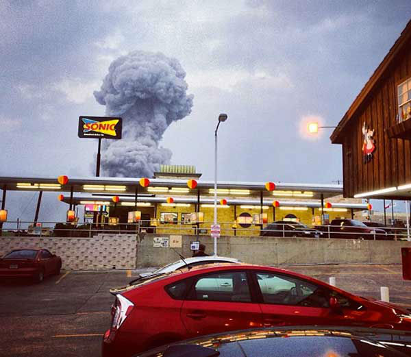 "<div class=""meta ""><span class=""caption-text "">In this Instagram photo provided by Andy Bartee, a plume of smoke rises from a fertilizer plant fire in West, Texas on Wednesday, April 17, 2013. An explosion at a fertilizer plant near Waco Wednesday night injured dozens of people and sent flames shooting high into the night sky, leaving the factory a smoldering ruin and causing major damage to surrounding buildings.  (Photo/Andy Bartee)</span></div>"
