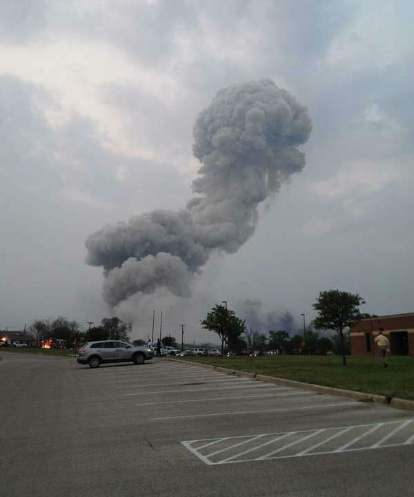 "<div class=""meta image-caption""><div class=""origin-logo origin-image ""><span></span></div><span class=""caption-text"">An iWitness user sent us this picture of the explosion moments after it happens. She said her son and daughter-in-law were at the local high school in a meeting when they heard something that sounded like a bomb. When they walked outside, this is what saw. They are safe, but were very shaken up.  (iWitness reports)</span></div>"