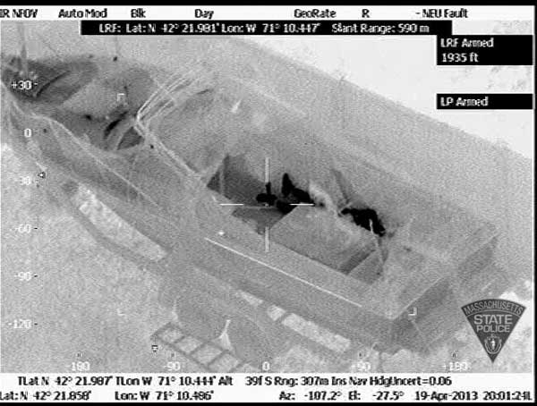 "<div class=""meta ""><span class=""caption-text "">Thermal images taken from the Massachusetts State Police Air Wing during the Watertown manhunt for Boston marathon bombing suspect Dzhokhar Tsarnaev. (Massachusetts State Police)</span></div>"