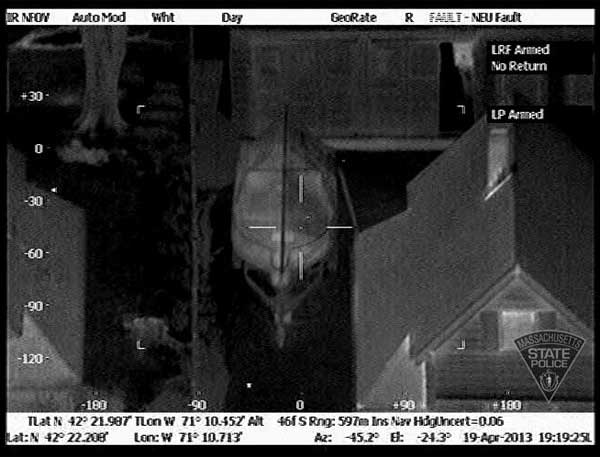 Thermal images taken from the Massachusetts State Police Air Wing during the Watertown manhunt for Boston marathon bombing suspect Dzhokhar Tsarnaev. <span class=meta>(Massachusetts State Police)</span>