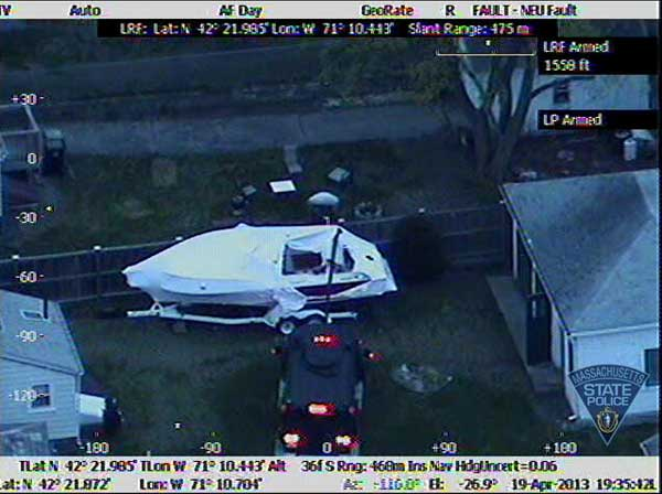 Aerial photos taken from the Massachusetts State Police Air Wing during the Watertown manhunt for Boston marathon bombing suspect Dzhokhar Tsarnaev. <span class=meta>(Massachusetts State Police)</span>