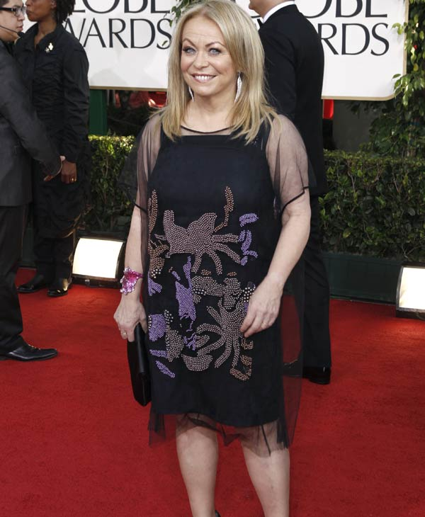 "Jackie Weaver arrives at the Golden Globe Awards Sunday, Jan. 16, 2011, in Beverly Hills, Calif.  Weaver was nominated for an Academy Award for best supporting actress for her role in ""Animal Kingdom,"" Tuesday, Jan. 25, 2011. The Oscars will be presented Feb. 27 at the Kodak Theatre in Hollywood. (AP Photo/Matt Sayles)"