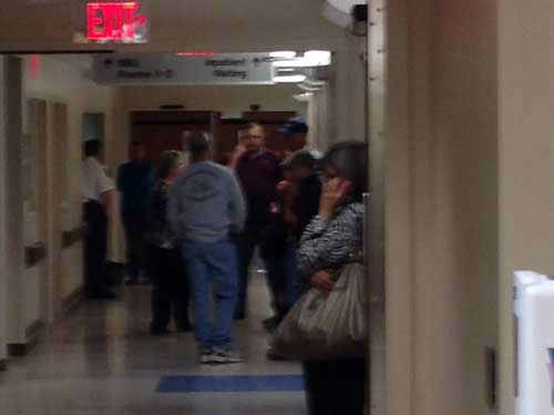 "<div class=""meta ""><span class=""caption-text "">Families, friends and colleagues of the injuried Bryan firefighters wait in the hallways of the UTMB burn unit in Galveston for updates on their conditions (KTRK Photo/Willie Dixon)</span></div>"