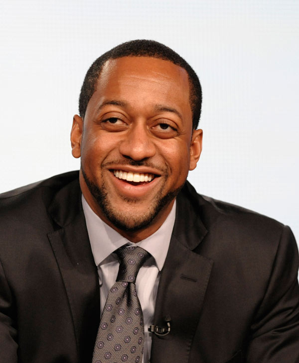 "Actor Jaleel White speaks during the panel discussion for his upcoming Syfy channel game show ""Total Blackout"" at the Television Critics Association Winter Press Tour for NBC Universal in Pasadena , Calif. on Saturday, Jan. 7, 2012. White will be among the 12 celebrity contestants on the next season of the ABC dancing competition, premiering March 19. (AP Photo/Dan Steinberg)"