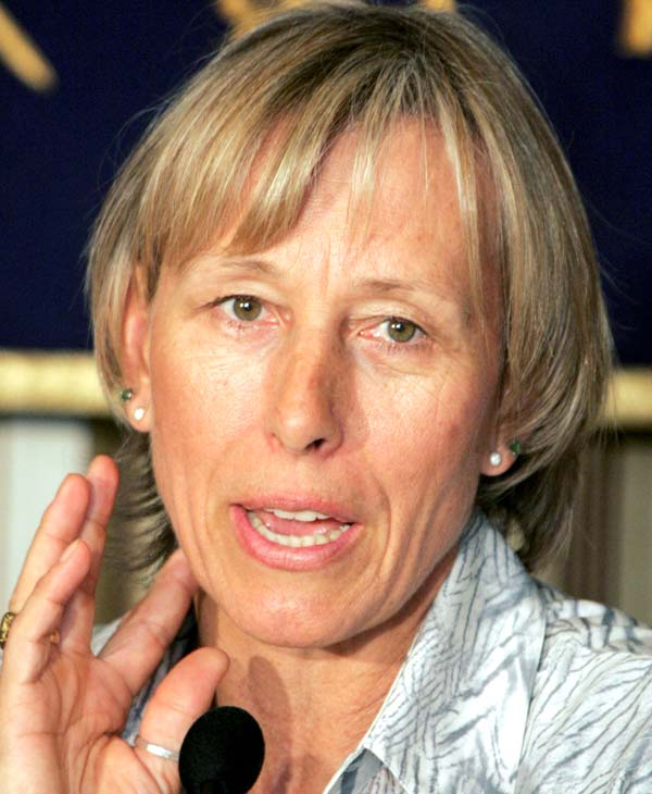 This March 11, 2008, file photo shows tennis great Martina Navratilova speaking at a news conference in Tokyo.  Navratilova will be among the 12 celebrity contestants on the next season of the ABC dancing competition, premiering March 19.(AP Photo/Koji Sasahara, File)