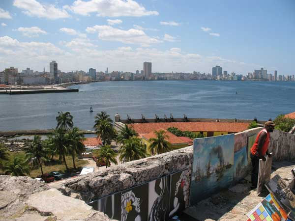 Panoramic view of Havana from Castle of the Three Kings