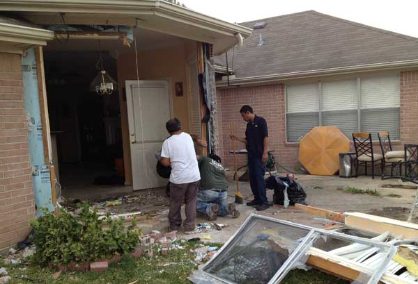 Photos from the home that was damaged early Tuesday in northwest Harris County when a driver slammed into it <span class=meta>(John Mizwa)</span>