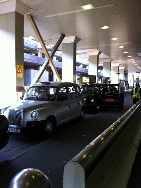 Producer Wendy Granato sent back a pic of the taxis at Heathrow Airport