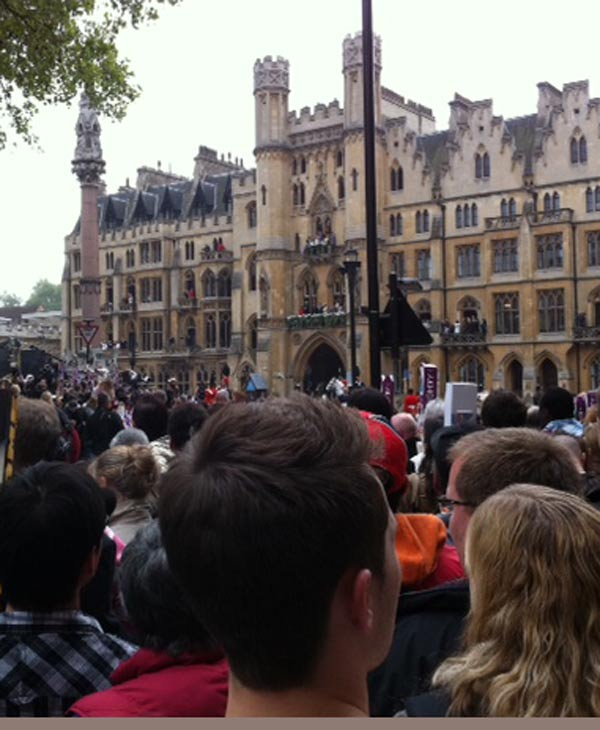 Faces in the crowd outside the Westminster Abbey  (Photo by: Wendy Granato)