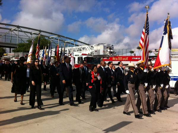 City leaders arrive at Reliant Stadium to take part in today&#39;s firefighter memorial service <span class=meta>(ABC13&#47;Sonia Azad)</span>