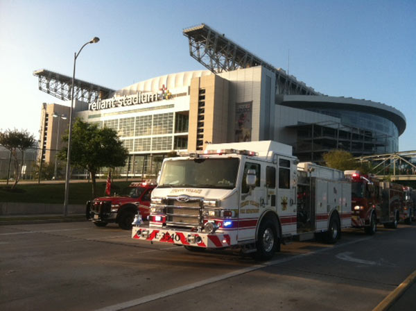 "<div class=""meta ""><span class=""caption-text "">Just outside Reliant Stadium, as firefighters arrive this morning for the firefighter memorial service (ABC13/David Aguillard)</span></div>"