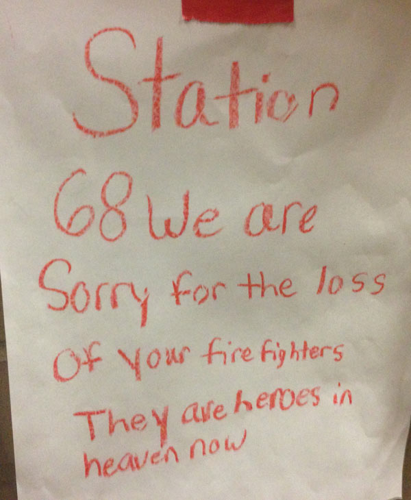 "<div class=""meta ""><span class=""caption-text "">This note was left by a child on the wall at HFD station 68 (ABC13/Elissa Rivas)</span></div>"