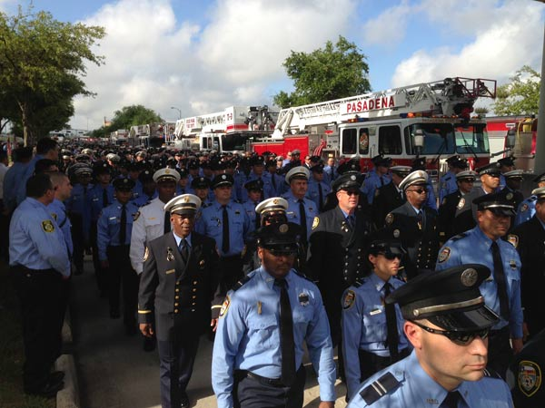 Just outside Reliant Stadium, as firefighters arrive this morning for the firefighter memorial service <span class=meta>(ABC13&#47;Linh Nguyen)</span>