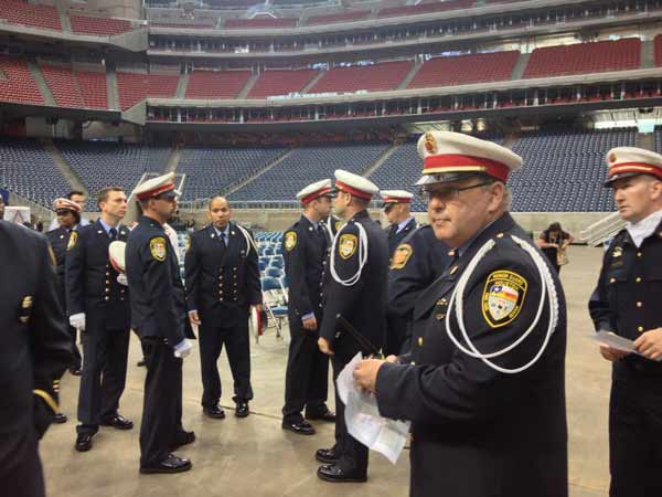 A photo from inside Reliant Stadium, as firefighters arrive this morning for the firefighter memorial service <span class=meta>(ABC13&#47;Mario Segura)</span>