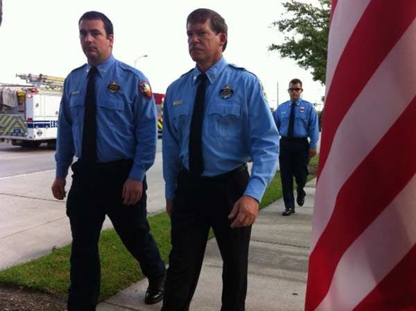 Just outside Reliant Stadium, as firefighters arrive this morning for the firefighter memorial service <span class=meta>(ABC13&#47;Sonia Azad)</span>