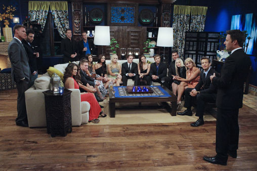 "Hosted by Chris Harrison (""The Bachelor,"" ""The Bachelorette""), ""Bachelor Pad"" returns MONDAY, AUGUST 8 (8:00-11:00 p.m., ET) with its most controversial cast to date, as 18 unforgettable characters from the ""Bachelor"" franchise - those we love and those we love to hate -- gather back at the mansion to live together and compete for $250,000 and possibly a second chance at love. The drama begins as the contestants move into the ""Bachelor"" mansion to meet their fellow competitors on a night where Jake Pavelka and Vienna Girardi will come face to face for the first time since their unforgettable primetime showdown. In their first challenge, the ""Hook Up,"" the men and women will pair off into couples clinging to each other 10-feet high. The couple who can hang on to each other the longest will win the challenge and be saved from elimination. At the end of the episode, one man and one woman will be voted off. (ABC/GREG ZABILSKI) BACHELOR PAD CONTESTANTS, CHRIS HARRISON"