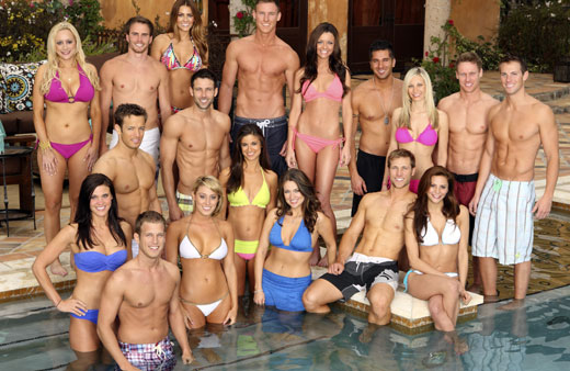 "Hosted by Chris Harrison (""The Bachelor,"" ""The Bachelorette""), ""Bachelor Pad"" returns MONDAY, AUGUST 8 (8:00-10:00 p.m., ET) with its most controversial cast to date, as 18 unforgettable characters from the ""Bachelor"" franchise - those we love and those we love to hate -- gather back at the mansion to live together and compete for $250,000 and possibly a second chance at love. (ABC/CRAIG SJODIN) BACK ROW: MICHAEL STAGLIANO, MICHELLE MONEY, KASEY KAHL, JUSTIN ""RATED-R"" REGO; MIDDLE ROW: ERICA ROSE, AMES BROWN, GRAHAM BUNN, HOLLY DURST, MELISSA SCHREIBER, KIRK DEWINDT, BLAKE JULIAN; FRONT ROW: ALLI TRAVIS, VIENNA GIRARDI, JACKIE GORDON, WILLIAM HOLMAN, ELLA NOLAN, JAKE PAVELKA, GIA ALLEMAND"