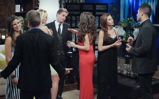 "Hosted by Chris Harrison (""The Bachelor,"" ""The Bachelorette""), ""Bachelor Pad"" returns MONDAY, AUGUST 8 (8:00-11:00 p.m., ET) with its most controversial cast to date, as 18 unforgettable characters from the ""Bachelor"" franchise - those we love and those we love to hate -- gather back at the mansion to live together and compete for $250,000 and possibly a second chance at love. The drama begins as the contestants move into the ""Bachelor"" mansion to meet their fellow competitors on a night where Jake Pavelka and Vienna Girardi will come face to face for the first time since their unforgettable primetime showdown. In their first challenge, the ""Hook Up,"" the men and women will pair off into couples clinging to each other 10-feet high. The couple who can hang on to each other the longest will win the challenge and be saved from elimination. At the end of the episode, one man and one woman will be voted off. (ABC/GREG ZABILSKI) JACKIE GORDON, JAKE PAVELKA, ERICA ROSE, MICHAEL STAGLIANO, ELLAN NOLAN, GIA ALLEMAND, JUSTIN ""RATED-R"" REGO"