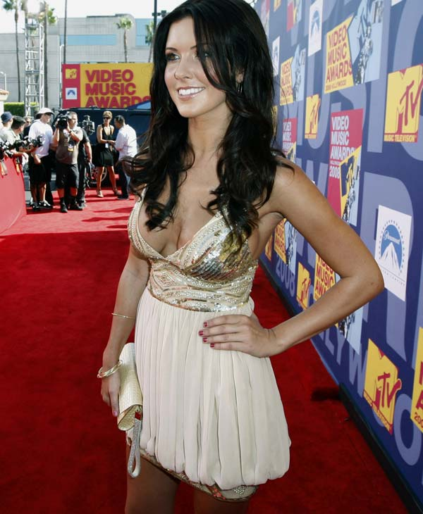 Television personality Audrina Partridge arrives at the 2008 MTV Video Music Awards held at Paramount Pictures Studio Lot on Sunday, Sept. 7, 2008, in Los Angeles. (AP Photo/Matt Sayles)