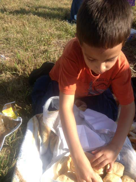 Damien Ortiz, 5, got his mother's permission to serve turkey sandwiches to the other victims of the pileup after their vehicle was hit by a jack-knifed semi.  They were taking turkey dinner to surprise loved ones in Louisiana.  During the accident, Damien's puppy Bo went missing but he was later found by a wrecker driver working the scene.