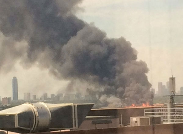 These are images viewers sent to us at news@abc13.com of the fire that burned in Montrose Tuesday, March 25. <span class=meta>(Photo&#47;iWtiness Reports)</span>