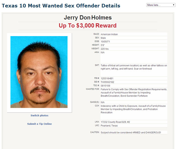 "<div class=""meta image-caption""><div class=""origin-logo origin-image ""><span></span></div><span class=""caption-text"">Suspect on the Texas 10 Most Wanted Sex Offender list. (Texas Department of Public Safety)</span></div>"