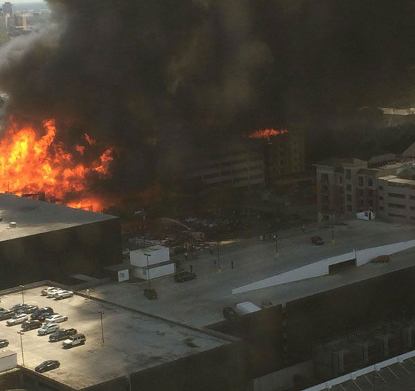 These are photos viewers sent to us at news@abc13.com of the fire that burned at a Montrose area apartment complex under construction <span class=meta>(Photo&#47;iWitness Reports)</span>