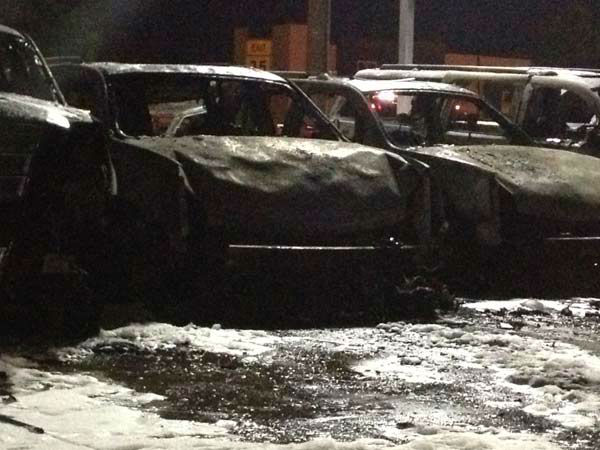 Several vehicles at a north Houston dealership were destroyed or damaged by intense flames. <span class=meta>(ABC-13)</span>