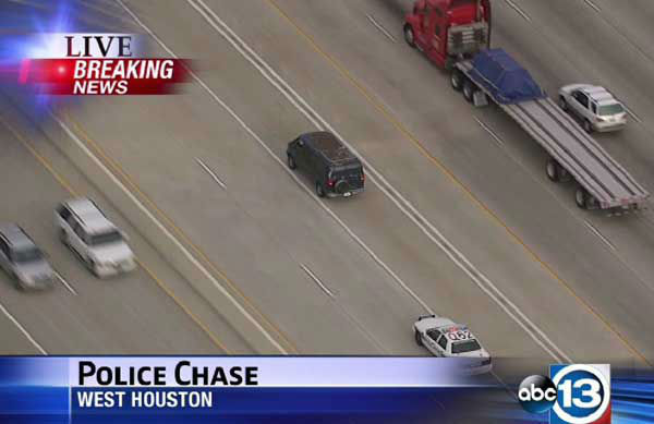 "<div class=""meta ""><span class=""caption-text "">These are photos from the pursuit that took place on several area freeways.  The suspect stopped on I-10 near Bingle, then jumped from the van and after running across several lanes of traffic,  leaped  off the freeway. (Photo/Sky Eye HD)</span></div>"