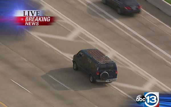 These are photos from the pursuit that took place on several area freeways.  The suspect stopped on I-10 near Bingle, then jumped from the van and after running across several lanes of traffic,  leaped  off the freeway. <span class=meta>(Photo&#47;Sky Eye HD)</span>