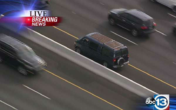 "<div class=""meta image-caption""><div class=""origin-logo origin-image ""><span></span></div><span class=""caption-text"">These are photos from the pursuit that took place on several area freeways.  The suspect stopped on I-10 near Bingle, then jumped from the van and after running across several lanes of traffic,  leaped  off the freeway. (Photo/Sky Eye HD)</span></div>"