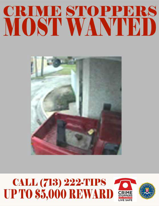 The unidentified driver of this red Dodge pickup truck is sought for the robbery of a bank located near the 1100 block of Edgewood Drive.  On June 20, 2012 The suspect drove his older Dodge pickup truck through the commercial drive-through at the bank on Edgewood.  He then placed an unknown device in the drive-through tray which he claimed to be a bomb.  The suspect threatened to detonate the device if the teller failed to surrender cash.    The suspected driver of the vehicle is described as a white or Hispanic male, with a medium build and light complexion.  At the time of the offense, he wore a wig under a blue baseball cap.  06&#47;20&#47;2012:	1100 Edgewood Drive.    <span class=meta>(Photo&#47;Crime-Stoppers)</span>
