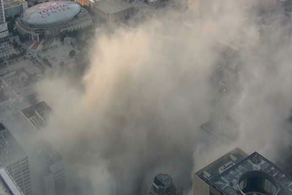 "<div class=""meta image-caption""><div class=""origin-logo origin-image ""><span></span></div><span class=""caption-text"">A downtown Houston icon for decades was reduced to rubble Sunday morning.  What was Foley's, then Macy's was imploded. (Photo/Sky Eye HD)</span></div>"