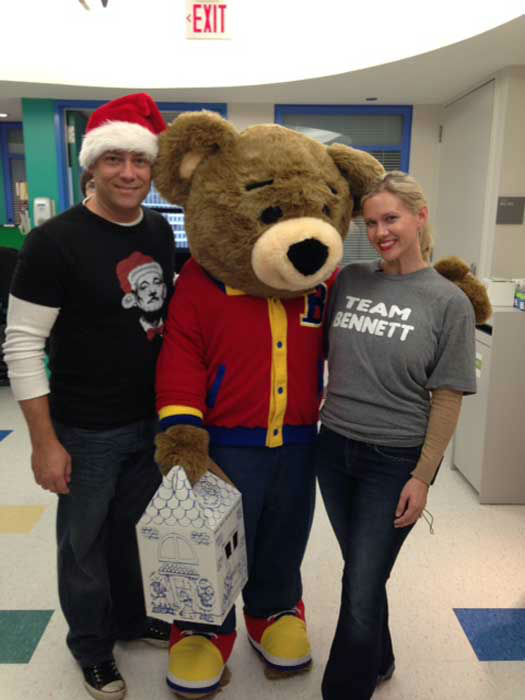 Bennett Nester, who is battling cancer, and his parents, Randy and Brande, delivered donated Build-a-Bears to children who spent the holidays in the hospital. <span class=meta>(Photo&#47;Brande and Randy Nester)</span>