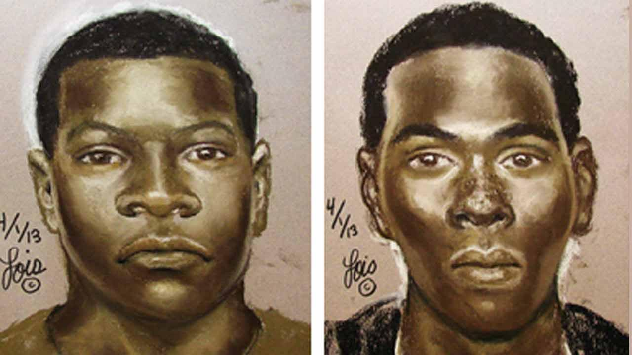 The suspects are described only as two black males in their late teens to early 20s.  One is about 5 feet 9 inches tall, about 140 to 180 pounds with an average build.  He was wearing a red shirt.  The other suspect is about 5 feet 7 inches tall.