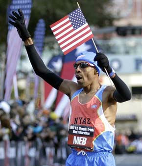 "<div class=""meta image-caption""><div class=""origin-logo origin-image ""><span></span></div><span class=""caption-text"">Meb Keflezighi reacts after winning the men's U.S. Olympic Trials Marathon Saturday, Jan. 14, 2012, in Houston. (AP Photo/David J. Phillip) (AP Photo/ David J. Phillip)</span></div>"