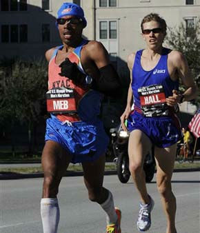 "<div class=""meta ""><span class=""caption-text "">Meb Keflezighi, left, and Ryan Hall compete on the final lap of the U.S. Olympic marathon trials Saturday, Jan. 14, 2012, in Houston. Keflezighi won the men's trial to qualify for his third Games along with hall who came in second. (AP Photo/Pat Sullivan) (AP Photo/ Pat Sullivan)</span></div>"