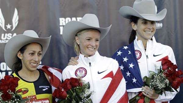 "<div class=""meta image-caption""><div class=""origin-logo origin-image ""><span></span></div><span class=""caption-text"">The top three women finishers, from left, Desiree Davila, second, Shalane Flanagan, first, and Kara Goucher, third, smile on the podium after running in the U.S. Olympic Trials Marathon, Saturday, Jan. 14, 2012, in Houston. (AP Photo/David J. Phillip) (AP Photo/ David J. Phillip)</span></div>"