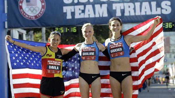 "<div class=""meta image-caption""><div class=""origin-logo origin-image ""><span></span></div><span class=""caption-text"">The top three women finishers, from left, Desiree Davila, second, Shalane Flanagan, first, and Kara Goucher, second, pose after running in the U.S. Olympic Trials Marathon, Saturday, Jan. 14, 2012, in Houston. (AP Photo/David J. Phillip) (AP Photo/ David J. Phillip)</span></div>"