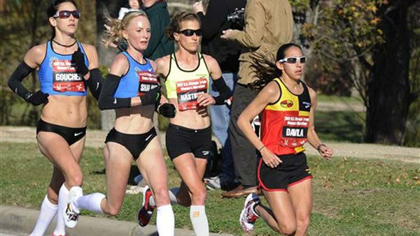 "<div class=""meta ""><span class=""caption-text "">From left: Kara Goucher, Shalane Flanagan, Amy Hastings and Desiree Davila compete in the U.S. Olympic women's marathon trials Saturday, Jan. 14, 2012, in Houston. Flanagan won followed by Davila in second and Goucher third. All three qualified to represent the U.S. in the 2012 games in London. (AP Photo/Pat Sullivan) (AP Photo/ Pat Sullivan)</span></div>"