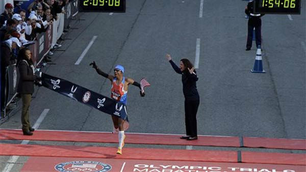 "<div class=""meta ""><span class=""caption-text "">Meb Keflezighi reacts after winning the men's U.S. Olympic Trials Marathon Saturday, Jan. 14, 2012, in Houston. (AP Photo/David J. Phillip) (AP Photo/ David J. Phillip)</span></div>"