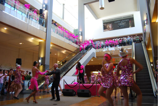 Dancers perform a flash mob dance at the Houston Galleria to &#39;I Will Survive&#39; -- sung live by Gloria Gaynor -- for National Cancer Survivors Day <span class=meta>(KTRK Photo&#47; Kristy Gillentine)</span>