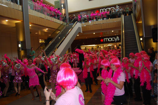 "<div class=""meta ""><span class=""caption-text "">Breast cancer survivors perform a flash mob dance at the Houston Galleria to 'I Will Survive' -- sung live by Gloria Gaynor -- for National Cancer Survivors Day (KTRK Photo/ Kristy Gillentine)</span></div>"