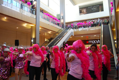 Breast cancer survivors perform a flash mob dance at the Houston Galleria to &#39;I Will Survive&#39; -- sung live by Gloria Gaynor -- for National Cancer Survivors Day <span class=meta>(KTRK Photo&#47; Kristy Gillentine)</span>
