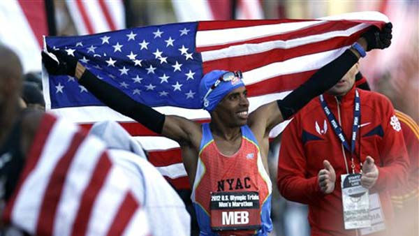"<div class=""meta image-caption""><div class=""origin-logo origin-image ""><span></span></div><span class=""caption-text"">Meb Keflezighi celebrates after winning the men's U.S. Olympic Trials Marathon Saturday, Jan. 14, 2012, in Houston. (AP Photo/David J. Phillip) (AP Photo/ David J. Phillip)</span></div>"