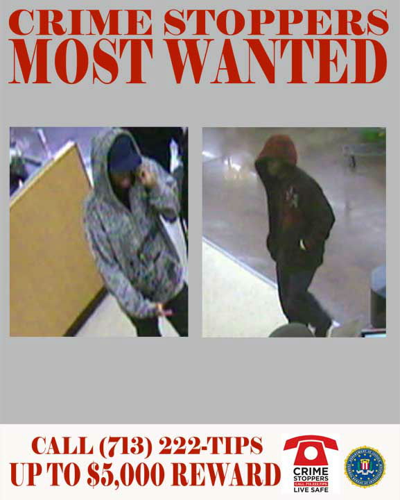 This team of suspects is sought in regards to the aggravated robbery at a bank located on South Gessner Road in Houston, TX.  On the morning of January 9, 2012, the two unidentified black males entered the bank located near the 11200 block of South Gessner in Houston TX.  The suspects advised the tellers that they both possessed weapons.  Both suspects detained one employee while waiting for the other staff to retrieve money from behind the teller counter.   The first suspect is described as a black male, approximately 6&#39;1&#34;, weighing 170 lbs with a medium complexion.  At the time of the offense he wore a camouflage hooded sweatshirt, a bright purple ball cap and black pants.  The second suspect is described as a black male, believed to be in his late twenties, standing 5&#39;4&#34;-5&#39;5&#34; and weighing approximately 140-150 lbs.  He wore a distinctive patterned red hooded sweatshirt and black jeans.    01&#47;09&#47;2012:	11200 South Gessner Rd    If you recognize any of theses suspects, contact Crime-Stoppers at 713-222-TIPS.  You could earn a cash reward.  <span class=meta>(Photo&#47;Crime-Stoppers.org)</span>